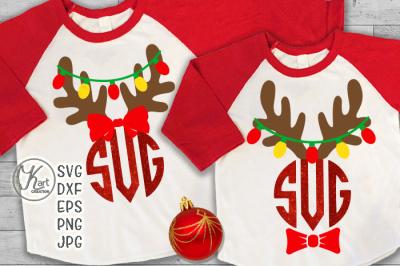 fcb2334c501fd reindeer antlers monogram svg