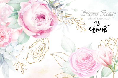 Sleeping Beauty Wedding Watercolor Bundle