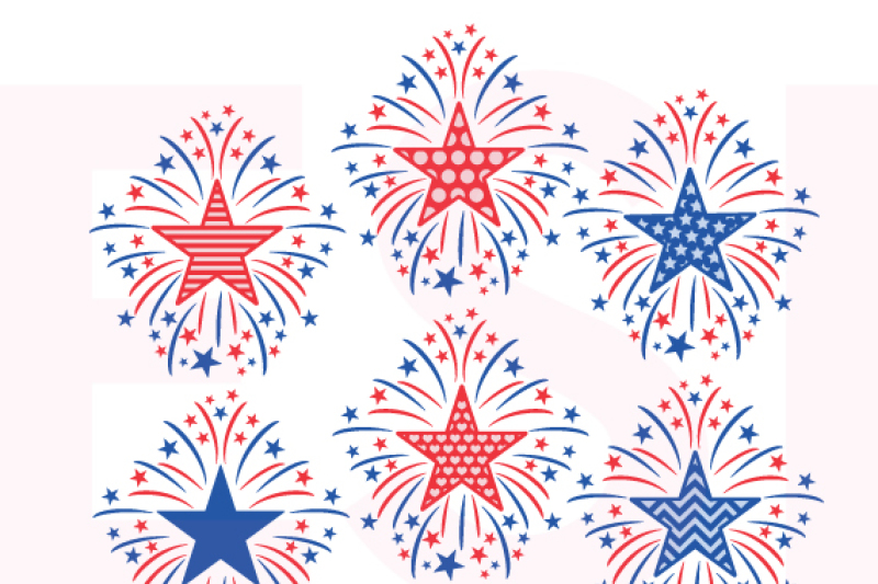 Star Firework Designs 4th Of July Memorial Day Svg Dxf