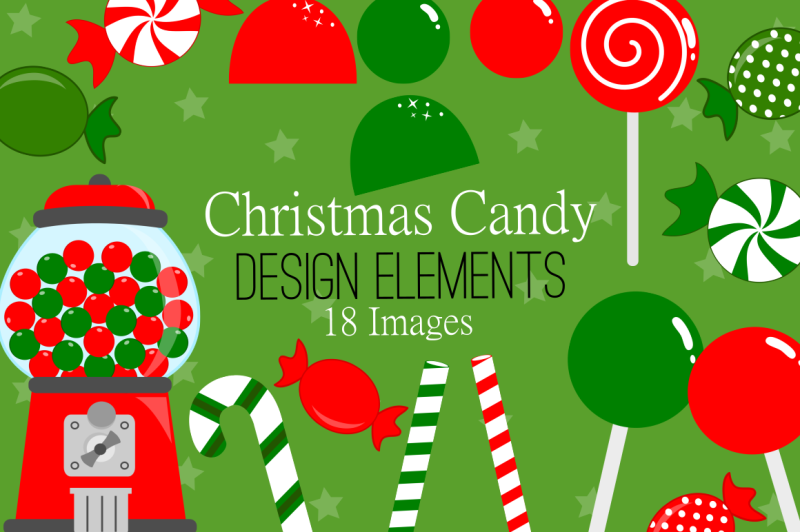 Christmas Candy Design Elements Clip Art By Nrcdesignstudio