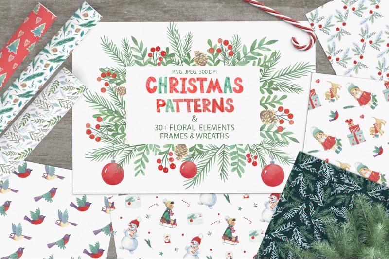 Watercolor Christmas Patterns By Tanya Cherry Thehungryjpeg Com