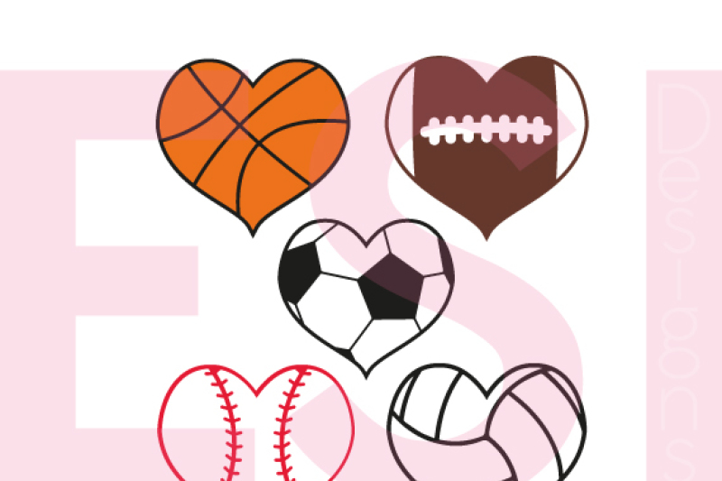 Sport Heart Designs Set Svg Dxf Eps Png By Esi Designs