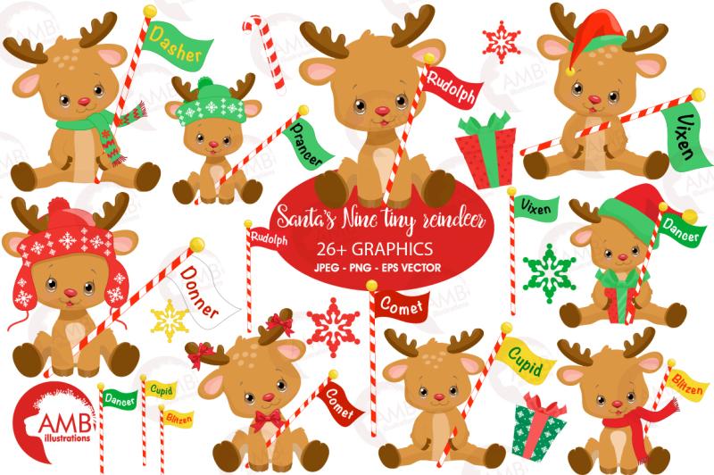 Santa's reindeer clipart, graphics, illustration AMB-2291 ...