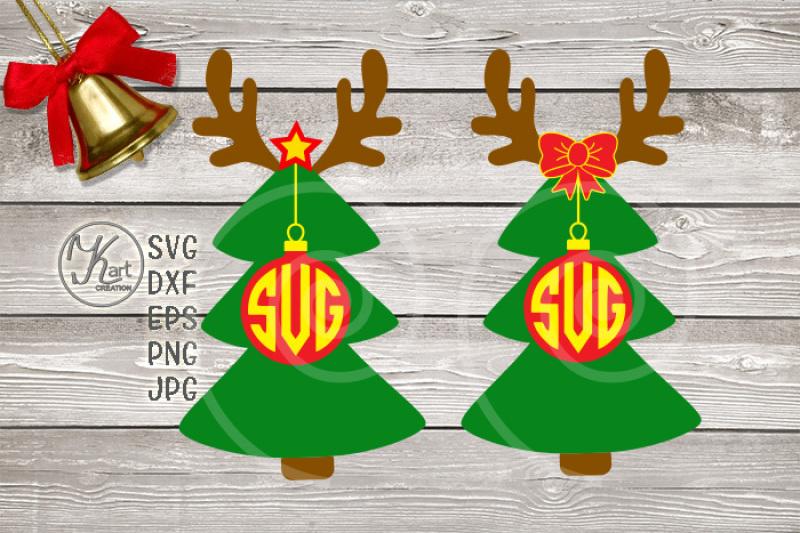 Reindeer Monogram Svg Boy Christmas Svg Christmas Tree Monogram