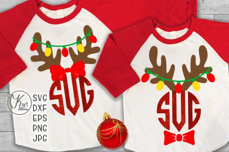 Reindeer Antlers Monogram Svg Antlers With Christmas Lights Svg