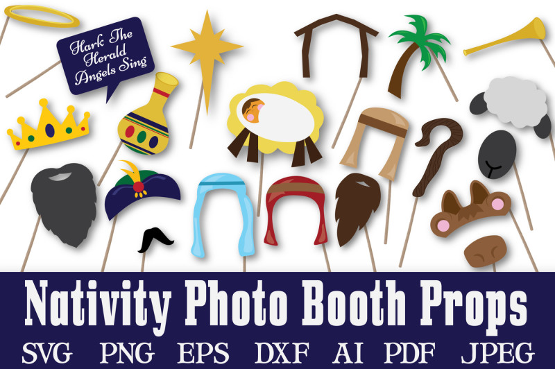 Free Christmas Nativity Photo Booth Props Svg Cut File Dxf Png Jpeg Pdf Eps Ai Crafter File Free Svg Files Girl Holidays Summer Vacation