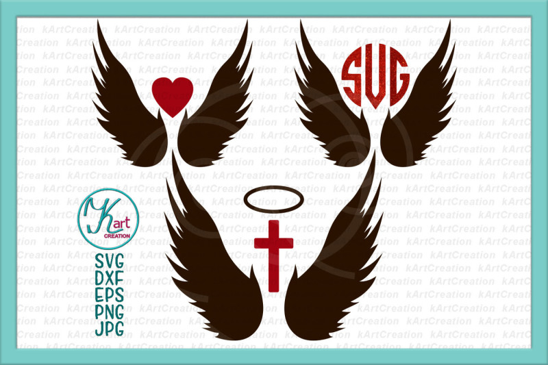 Download Free Angel Wings Svg Angel Wings Monogram Svg Cross Svg Christian Svg Heart Svg Angel Svg Angel Wings Iron On Wings For Cricut Silhouette Crafter File