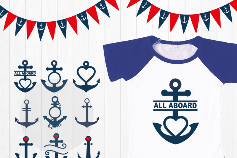 Anchor Monogram Font SVG DXF digital download files for Silhouette Cricut vector clipart graphics Vinyl Cutting Machine Screen Printing