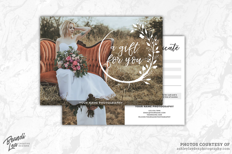 Photography Gift Certificate Template By Brandi Lea Designs