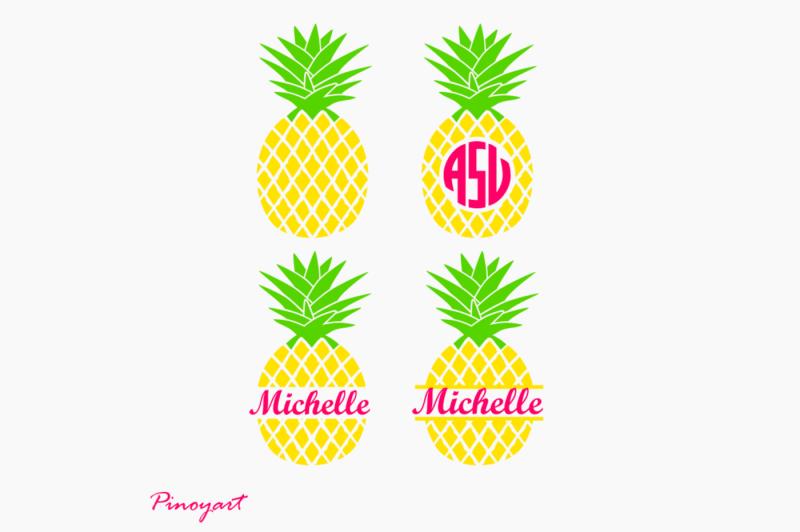 Cut files fruits Monogram Pineapples SVG  PDF Papercut Template Bundle Silhouette Tropics Summer Commercial use Cricut