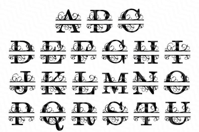 Split Letters A Z Svg Alphabet Letters A Z By Newsvgart