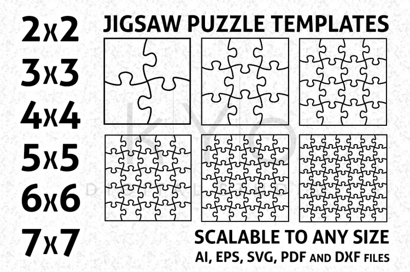 Square Jigsaw Puzzle Templates AI EPS SVG DXF PDF files