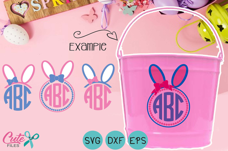 Bow Monogram Frame Svg Bunny Ears Monogram Svg Dxf Circle Monogram F Scalable Vector Graphics Design Best Free Popular Svg Cut Files