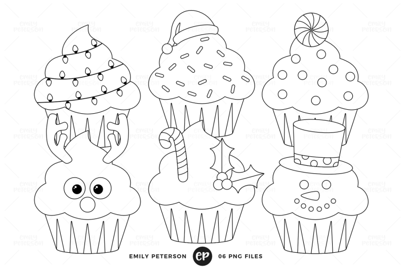 Christmas Cupcakes Digital Stamps By Emily Peterson Studio