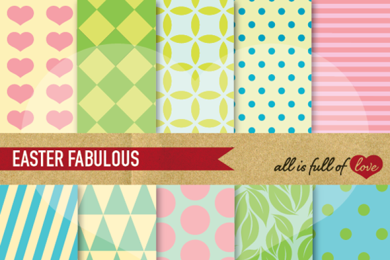 Easter Digital Paper Pack Pastel Backgrounds By All Is Full Of