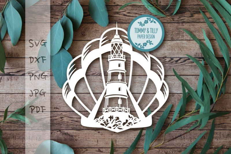 Download Free Lighthouse Shell Svg Dxf Png Pdf Jpg Crafter File
