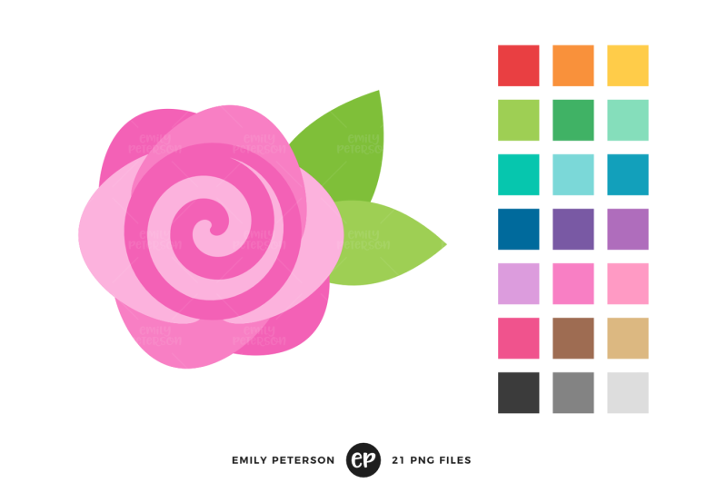 Rose Clipart By Emily Peterson Studio Thehungryjpeg Com