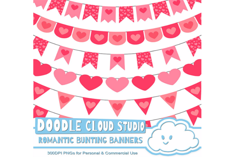 Romantic Bunting Banners Cliparts Valentine S Day By Doodle Cloud