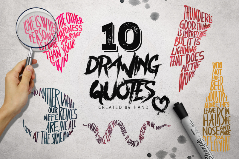 Drawing Quotes X10 By Ze Studio Thehungryjpeg Com