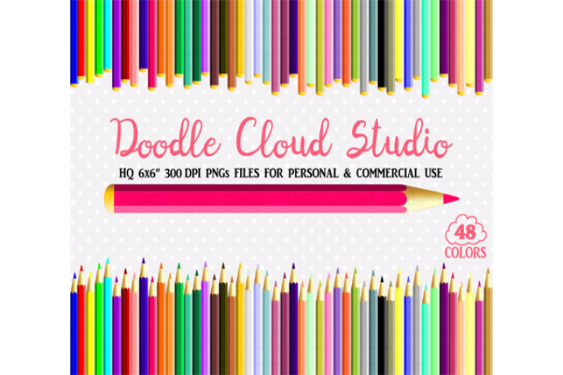 48 Colorful Pastel Pencils Clipart School Planner Stickers Stamps