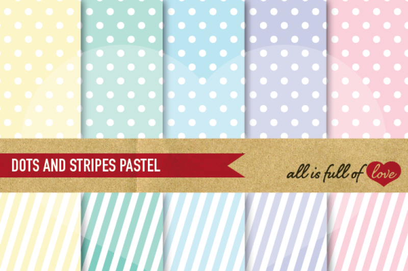Dots And Stripes Digital Background Patterns In Pastel Colors By