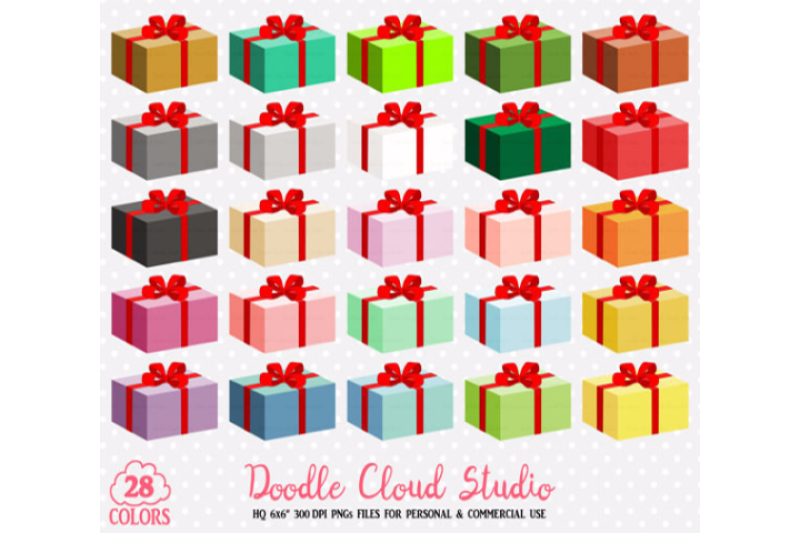 28 Colorful Present Clipart Birthday Gift Box Christmas