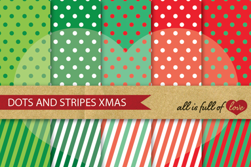 Christmas Dots And Stripes Digital Background Patterns By All Is