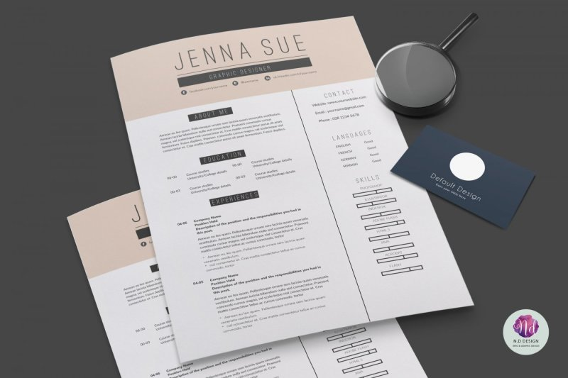 Modern 2 Page CV Template Cover Letter By Chic Templates
