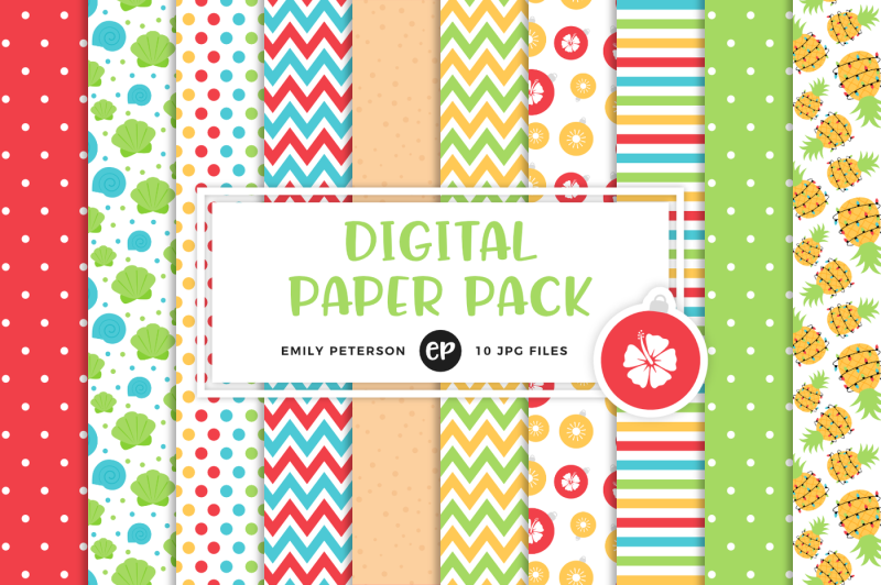 Christmas In July Digital Papers By Emily Peterson Studio