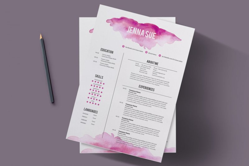 Watercolor Resume Template By Chic Templates