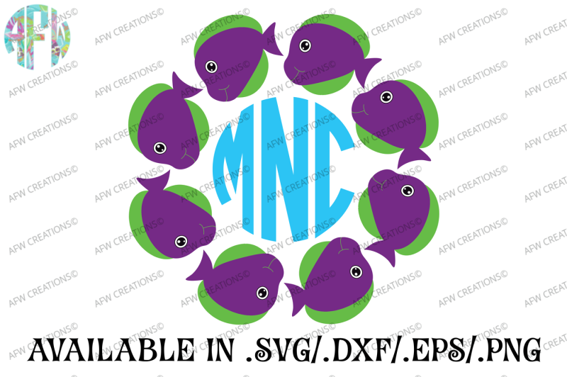Free Tropical Fish Monogram Svg Dxf Eps Cut File Crafter File Free Svg Files Girl Holidays Summer Vacation