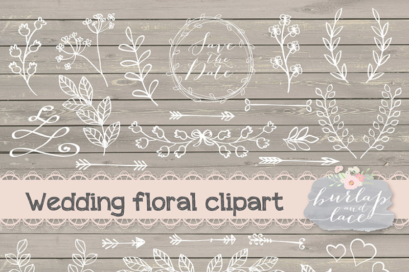 Lace wedding. Rustic clipart hand drawn