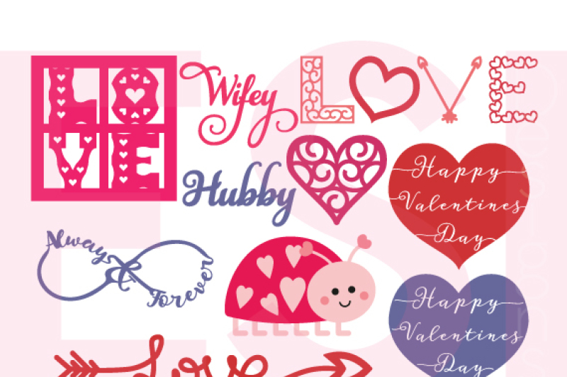 Love Theme Valentines Wedding Designs Mini Bundle Svg Dxf