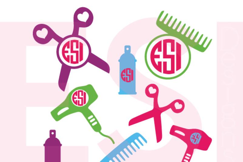 Hairdresser Hair Stylist Monogram And Silhouette Designs Svg