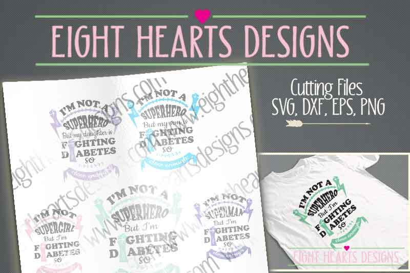 Multi Pack Fighting Diabetes Design By Eight Hearts Designs Thehungryjpeg Com