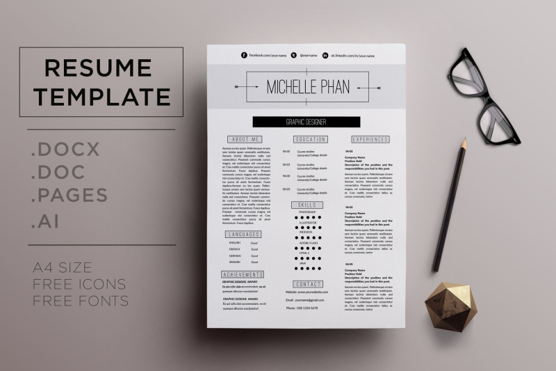 Elegant CV Template Resume By Chic Templates