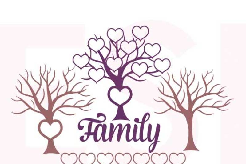 Family Tree With Hearts Svg Dxf Eps Cutting Files By Esi