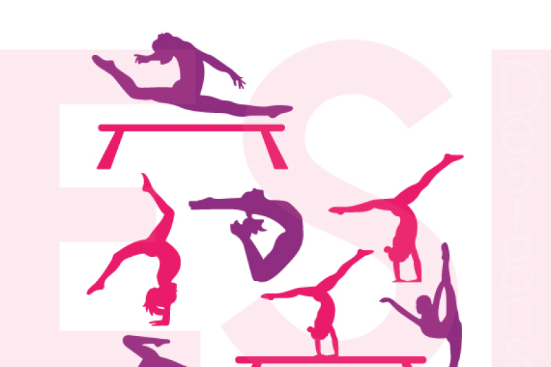 Gymnast Silhouette Designs Svg Dxf Eps Cutting Files By Esi