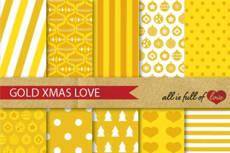 Golden Xmas Backgrounds Yellow Christmas Digital Paper Pack By All Is Full Of Love Thehungryjpeg Com