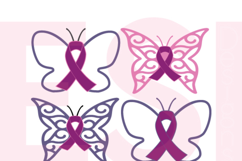 Awareness Ribbons With Butterfly Svg Dxf Eps Cutting Files