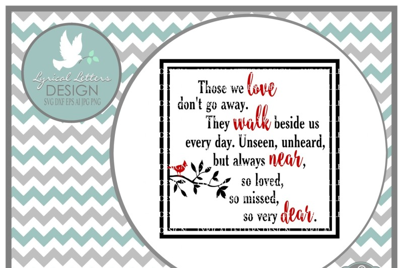 Download Free Those We Love Don'T Go Away With Cardinal Svg Dxf Eps ...