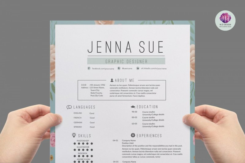 Vintage Resume Template Cover Letter References By Chic Templates