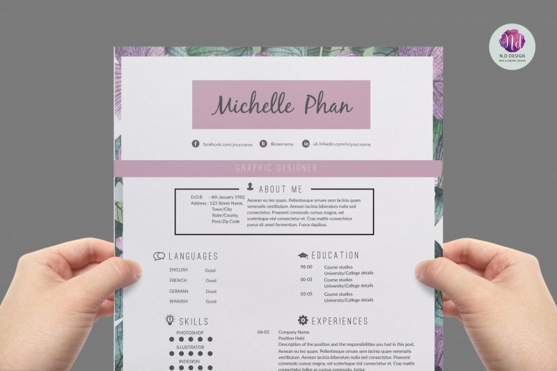 Floral CV Template Cover Letter References By Chic Templates