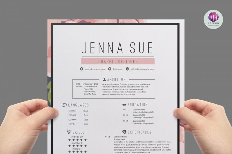 Floral CV Template By Chic Templates