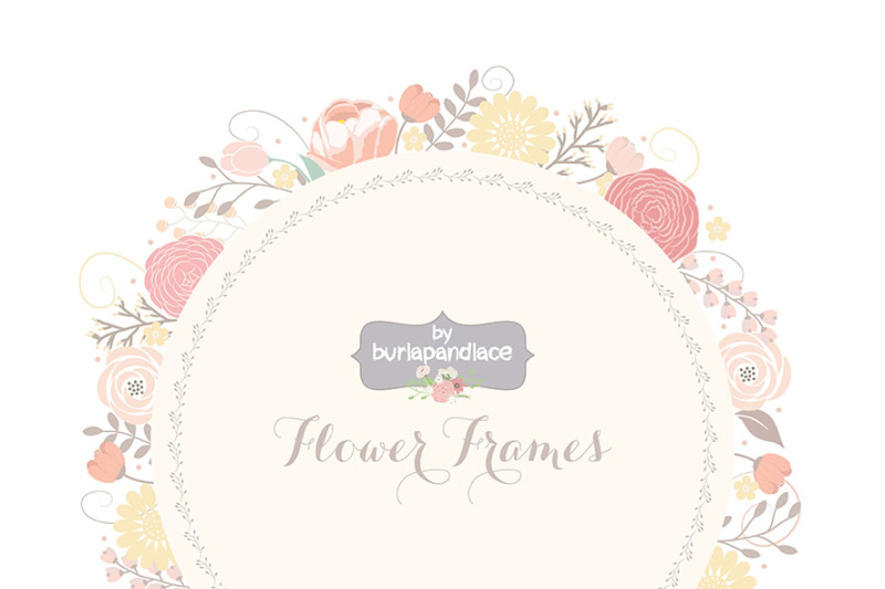 Vector Wedding Floral Wreath Clip Art Hand Illustrated Digital Flowers Flower Frames Wedding Invitation Shower Invitation Frame By Burlapandlace Thehungryjpeg Com