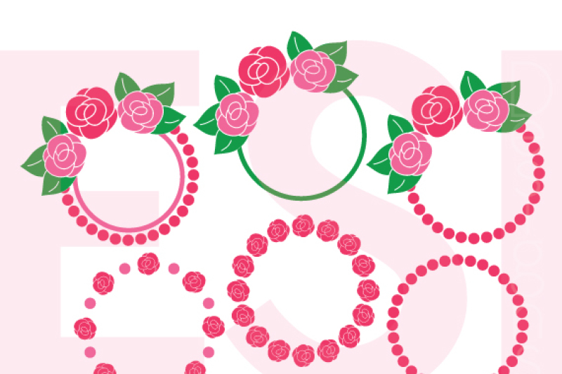 Rose Flower Circle Monogram Frames Svg Dxf Eps And Png Cutting Files Design Free Hello Kitty Svg Images