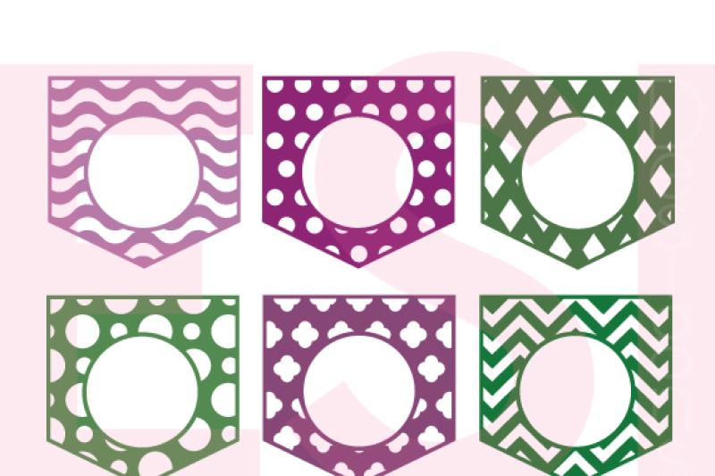 Patterned Pocket Monogram Designs Set 1 Svg Dxf Eps Cutting