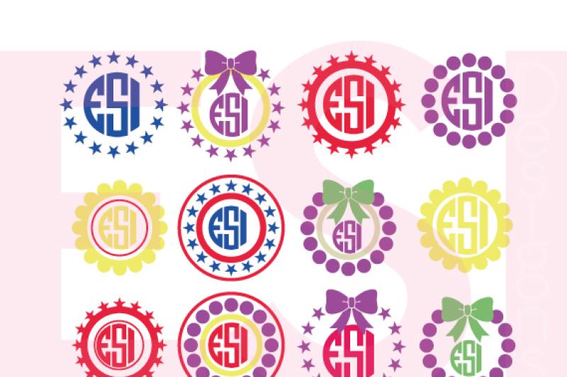 Polka Dot And Star Circle Monogram Frames Svg Dxf Eps Cutting Files By Esi Designs Thehungryjpeg Com