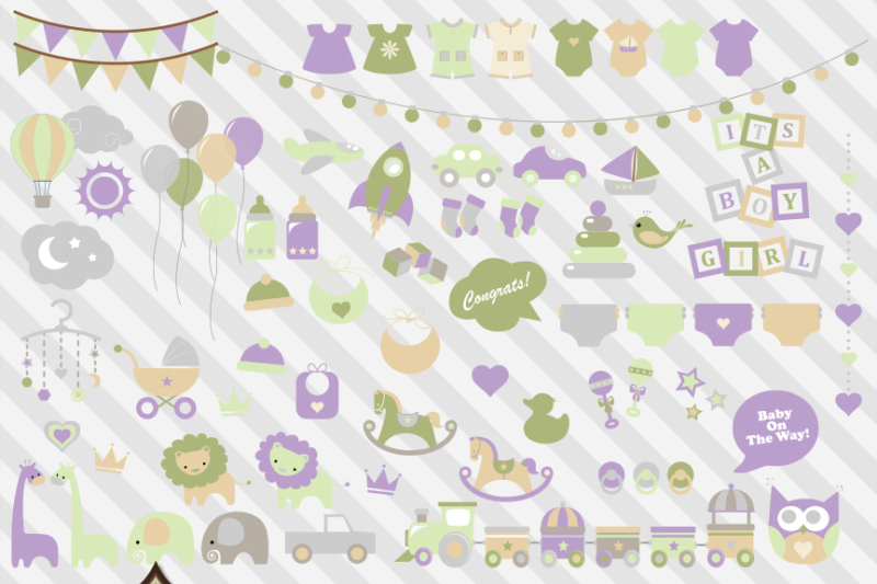 Gender Neutral Pastel Baby Shower Vector Clipart By Digital Curio