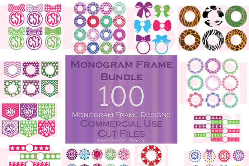 100 Circle Monogram Frame Bundle Svg Png Dxf Eps Cutting Files By Esi Designs Thehungryjpeg Com